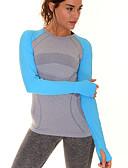 저렴한 티셔츠-여성용 크루넥 패치 워크 러닝 티셔츠 - 그레이, 그린, 블루 스포츠 패션 스판덱스 티셔츠 / 탑스 긴 소매 스포츠웨어 빠른 드라이, 통기성, 부드러움 높은 탄성