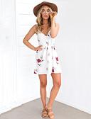 baratos Camisolas e Pijamas Femininos-Mulheres Praia / Para Noite / Feriado Moda de Rua Bainha Vestido Floral Ombro a Ombro Cintura Alta Mini Branco