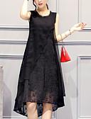 baratos Vestidos de Mulher-Mulheres Tamanhos Grandes Para Noite Solto Evasê Vestido Sólido Assimétrico Preto / Verão
