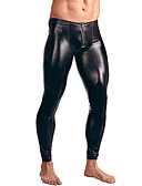cheap Men's Exotic Underwear-Men's Patent Leather Erotic Long Johns Solid Colored Mid Waist