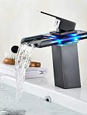 halpa Häähunnut-Integroitu Vesiputous LED-merkkivalo Öljytty pronssi, Kylpyhuone Sink hana