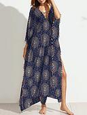 זול שמלות נשים-צווארון V מקסי דפוס שמלה משוחרר חוף בגדי ריקוד נשים