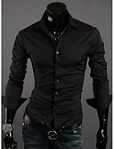 baratos Camisas Masculinas-Homens Camisa Social Temática Asiática Quadriculada Colarinho Clássico Delgado / Manga Longa