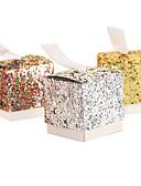 baratos Suporte para Lembrancinhas-Redonda Quadrada Cúbico Papel de Cartão Suportes para Lembrancinhas com Fitas Estampado Caixas de Ofertas