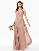 cheap Bridesmaid Dresses-A-Line V Neck Floor Length Chiffon Bridesmaid Dress with Lace Pleats Criss Cross Side Draping by LAN TING BRIDE®