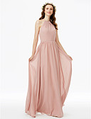 cheap Bridesmaid Dresses-Sheath / Column Jewel Neck Floor Length Chiffon Bridesmaid Dress with Sash / Ribbon Pleats by LAN TING BRIDE®