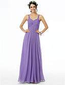cheap Mother of the Bride Dresses-Sheath / Column Straps Floor Length Chiffon Bridesmaid Dress with Pleats Ruched Criss Cross by LAN TING BRIDE®