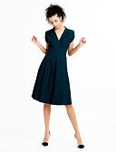 preiswerte Maxi-Kleider-Damen Ausgehen Retro / Street Schick Baumwolle Swing Kleid - Gerüscht, Solide Knielang Tiefes V Hohe Hüfthöhe