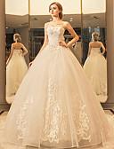 preiswerte Hochzeitskleider-Prinzessin Sweetheart Boden-Länge Tüll mit Spitzen-Overlay Made-To-Mode Brautkleider mit Kristall / Applikationen / Spitze durch LAN TING