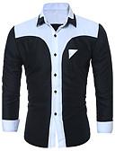 baratos Camisas Masculinas-Homens Tamanhos Grandes Camisa Social Casual / Moda de Rua / Punk & Góticas Sólido / Estampa Colorida Algodão Colarinho Clássico
