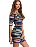 baratos Vestidos Estampados-Mulheres Para Noite Tubinho Vestido - Estampado, Listrado Mini / Skinny