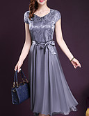 cheap Women's Dresses-Women's Plus Size Going out Chiffon / Swing Dress - Solid Colored Bow V Neck