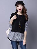abordables Camisas y Camisetas para Mujer-Mujer Casual Algodón Camisa A Rayas / Bloques