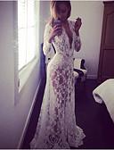 זול שמלות נשים-צווארון V גיזרה גבוהה מקסי תחרה, גיאומטרי - שמלה נדן שרוול נפוח בגדי ריקוד נשים