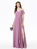 cheap Bridesmaid Dresses-Sheath / Column Spaghetti Straps Floor Length Chiffon Bridesmaid Dress with Split Front by LAN TING BRIDE®