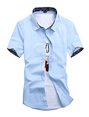 cheap Men's Shirts-Men's Chinoiserie Shirt - Solid Colored / Short Sleeve