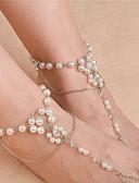 זול קווארץ-פנינה סנדלי רגליים יחפות - דמוי פנינה פרח אופנתי זהב / כסף עבור יומי קזו'אל בגדי ריקוד נשים