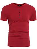 abordables Camisetas y Tops de Hombre-Hombre Deportes Algodón Camiseta, Escote Redondo Un Color Gris Oscuro L / Manga Corta / Largo