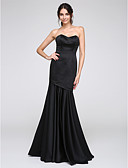 cheap Evening Dresses-Fit & Flare Sweetheart Neckline Floor Length Satin Cocktail Party / Formal Evening Dress with Pleats by TS Couture®