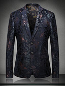 cheap Men's Blazers & Suits-Men's Sophisticated Blazer Sequins Patchwork Jacquard / Long Sleeve / Embroidered