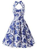 billige Kjoler-Dame Vintage Bomull A-linje Kjole - Blomstret Grime Knelang Blå / Blomstermønstre