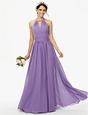 cheap Prom Dresses-A-Line Jewel Neck Floor Length Chiffon Bridesmaid Dress with Buttons Sash / Ribbon Pleats by LAN TING BRIDE®