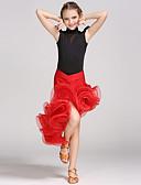 cheap Ballroom Dance Wear-Latin Dance Outfits Performance Spandex Viscose Crystals / Rhinestones Flower Sleeveless Natural Leotard / Onesie Skirt