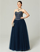 cheap Evening Dresses-Plus Size A-Line Sweetheart Neckline Floor Length Tulle Sparkle & Shine / Open Back / Lace Up Cocktail Party / Prom / Formal Evening Dress with Beading / Crystals / Pleats by TS Couture®