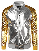 cheap Men's Jackets & Coats-Men's Daily Spring / Fall / Winter Regular Jacket, Color Block Shirt Collar Long Sleeve Polyester Gold / Silver L / XL / XXL