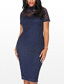 cheap Women's Dresses-Women's Plus Size Going out Street chic Bodycon Dress - Patchwork Lace Cut Out High Rise Crew Neck