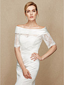 cheap Wedding Wraps-Lace Satin Wedding Party / Evening Women's Wrap With Lace Shrugs