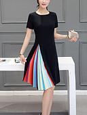 cheap Plus Size Dresses-Women's Plus Size Going out Weekend A Line Dress - Color Block Pleated Summer Black Fuchsia XL XXL XXXL