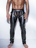 cheap Men's Exotic Underwear-Men's Erotic Long Johns Solid Colored Cut Out Mid Waist