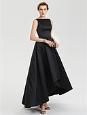 cheap Evening Dresses-A-Line Boat Neck Asymmetrical Satin High Low Prom / Formal Evening Dress with Pleats by TS Couture®