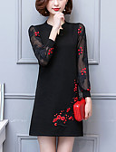 cheap Women's Dresses-Women's Plus Size Party / Going out Vintage / Chinoiserie Lantern Sleeve Loose Dress - Patchwork / Embroidered Patchwork / Embroidered V Neck Spring Cotton Black XL XXL XXXL