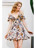 זול חולצה-סירה מתחת לכתפיים גיזרה גבוהה מיני פרחוני - שמלה גזרת A בגדי ריקוד נשים