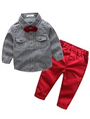 cheap Men's Shirts-Boys' Solid Clothing Set, Cotton Polyester Spring Fall Long Sleeves Blue