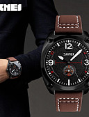 cheap Leather Band Watches-SKMEI Men's Wrist Watch Japanese Water Resistant / Water Proof / Cool Leather Band Casual / Fashion Black / Brown / Green / Two Years / Maxell SR626SW
