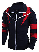 cheap Men's Hoodies & Sweatshirts-Men's Plus Size Sports Classic / Active / Designer Long Sleeve Slim Hoodie - Patchwork / Special Design / Fashion Mixed Color / Patchwork Hooded Navy Blue L / Fall / Winter