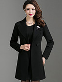 cheap Wedding Veils-Women's Wool Trench Coat - Solid Colored Peter Pan Collar