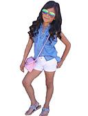 ieftine Seturi Îmbrăcăminte Fete-Copil Fete Haine Mată Fără manșon Regular Regular Bumbac / Altele Set Îmbrăcăminte Albastru piscină 110