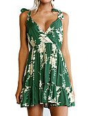 cheap Women's Dresses-Women's Beach Going out Holiday Boho Skater Dress - Floral Ruched High Rise V Neck
