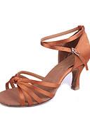 baratos Quartz-Mulheres Sapatos de Dança Latina Seda Sandália Salto Carretel Não Personalizável Sapatos de Dança Preto / Bege / Marron / Interior