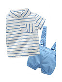 cheap Men's Shirts-Baby Children's Cotton Casual/Daily Going out Holiday Stripe Clothing Set, 100% Cotton Spring Summer Stripes Short Sleeve White