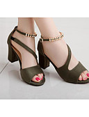 cheap Women's Dresses-Women's Shoes Leatherette Summer Basic Pump Heels Open Toe Beading Gray / Green / Pink