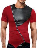 baratos Camisetas & Regatas Masculinas-Homens Camiseta Estampado, Sólido Decote Redondo / Manga Curta