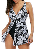 cheap Women's Skirts-Women's Strap Black Triangle Cheeky One-piece Swimwear - Floral Print XXXL 4XL XXXXXL / Sexy