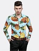 baratos Camisas Masculinas-Homens Camisa Social Moda de Rua Estampado
