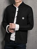 رخيصةأون تيشيرتات وتانك توب رجالي-رجالي قميص نحيل رقبة طوقية مرتفعة - النمط الصيني لون سادة / كم طويل