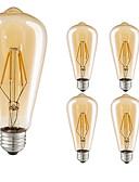 baratos Camisas Masculinas-5pçs 4W 360lm E26 / E27 Lâmpadas de Filamento de LED ST64 4 Contas LED COB Decorativa Branco Quente 220-240V